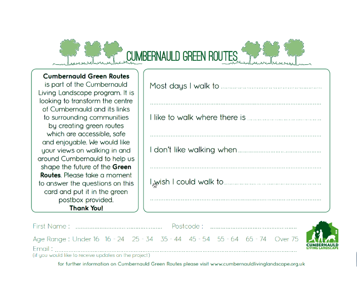 Cumbernauld Green Routes Postcard