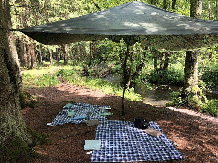 Tarpaulin shelter in woodland with picnic mats below