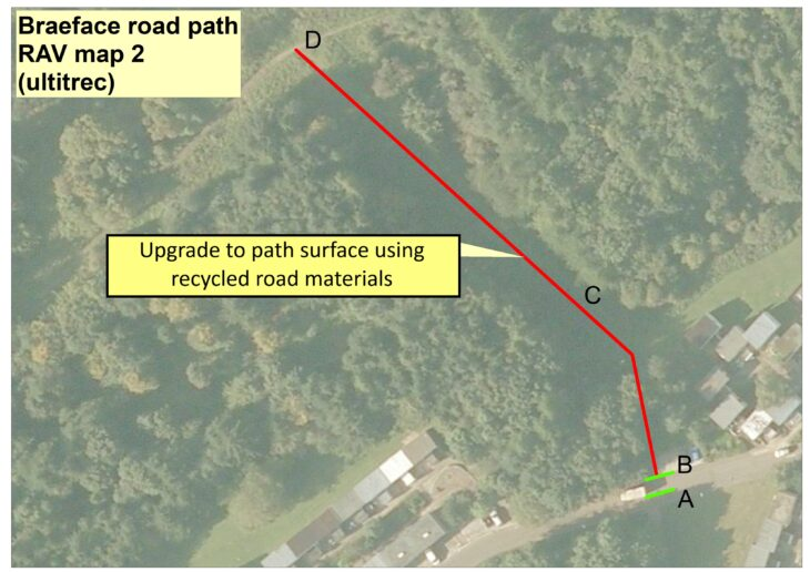 Braeface Rd map of access work