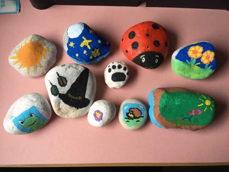 Brightly painted stones